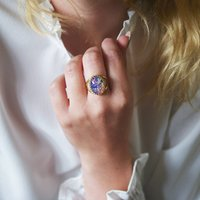Pink And Blue Fire Opal Ring, Blue