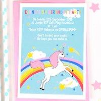 Rainbow Unicorn Personalised Birthday Party Invitations