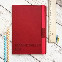 Personalised 2021 Journal Notebook, Red/Turquoise/Yellow