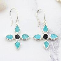 Amazonite And Black Tourmaline Gemstone Flower Earrings