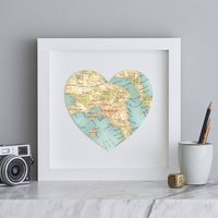 Personalised Location Athens Map Heart Print