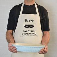 Personalised 'Culinary Super Hero' Apron, Black/Cream