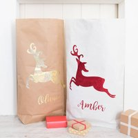 Personalised Glitter Reindeer Paper Christmas Sack, White/Red/Black