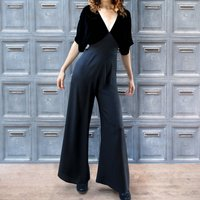 Vintage Style Jumpsuit In Jet Velvet And Crepe