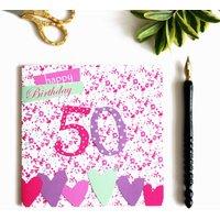 50th Birthday Card With Crystal Gem
