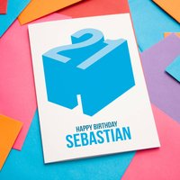 Happy Birthday Age Card Blue Or Pink Any Age, Blue/Pink