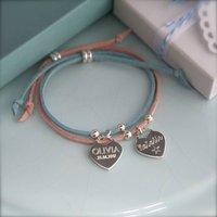 Silver Heart Suede Bracelet, Silver