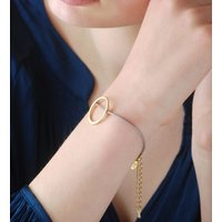 Personalised Gold Open Circle Leather Bracelet, Gold