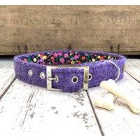 Lilac Harris Tweed Dog Collar
