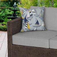 Grey Nautical Sailboats Water Resistant Outdoor Cushion