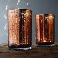 Copper Woodland And Stars Large Tea Light Holder