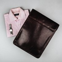 Fine Leather Shirt Carrier Case. The Sepino, Chestnut/Tan/Dark Chocolate