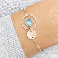 Amy Personalised Karma Birthstone Bracelet, Silver/Rose Gold/Rose