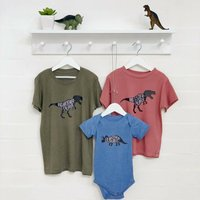 Matching Dinosaur Set Of Three T Shirts For Siblings