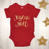 Joyeux Noel First Christmas Babygrow Gold