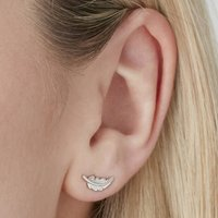 Feather Stud Earrings For Positivity Silver, Silver