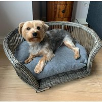 Oval Rattan Cat And Dog Bed With Cushion