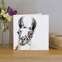 Inky Llama Blank Greetings Card