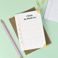 Five Books You Would Love List Card