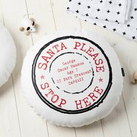 Personalised Santa Please Stop Here Round Cushion