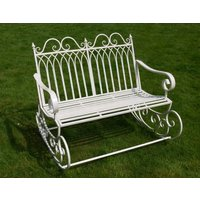 Vintage White Rocking Chair Bench Patio Seating