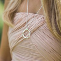 Large Silver Hoop Pendant Necklace, Silver
