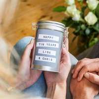 Personalised 10th Anniversary Coffee Gift In Tin, Red/Pale Blue/Blue