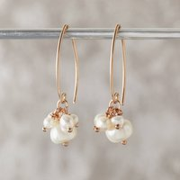 Pearl Cluster Earrings In Rose Gold, Gold