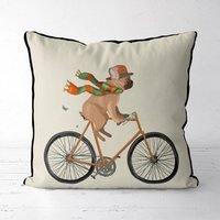 French Bulldog On Bicycle Decorative Cushion