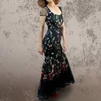 Maxi Dress In Black Meadow Flower Embroidered Lace