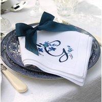 Floral Blue White Monogram Linen Napkins