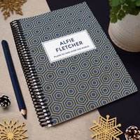 Personalised Geometric Combined Diary And Notebook