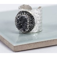 Silver Agate Quartz Crystal Statement Ring, Silver