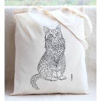 Cat Print Cotton Tote Bag