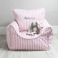 Personalised Childs Pink Stripe Bean Bag Chair
