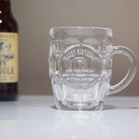 Traditional Personalised Birthday Glass Tankard In Box