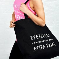Exercise? Extra Fries Gym Tote Bag, Black