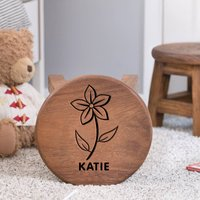 Personalised Flower Children's Wooden Stool