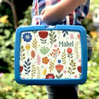 Personalised Retro Plastic Scandi Flower Lunchbox