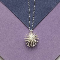 Sterling Silver Spike Flower Necklace, Silver