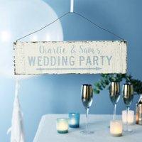 Personalised Wedding Direction Sign, Blue/Spring Green/Green