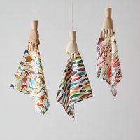 Set Of Three Illustrated Handkerchiefs Of Your Choice