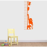 Animals Childrens Height Chart Wall Sticker, Black/White/Cream