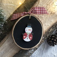 Personalised Christmas Cute Snowman Wood Decoration