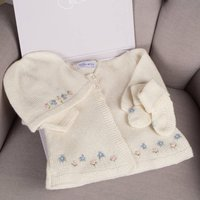 Hand Knitted Cashmere Forget Me Not Cardigan Set