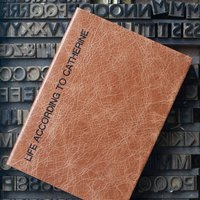 Personalised Notebook Leather, Chocolate/Russet/Red