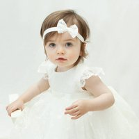 Ava Personalised Lace Christening Gown, Ivory/Pink