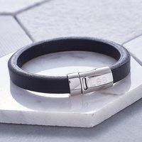 Dubh Leather Personalised Mens Bracelet