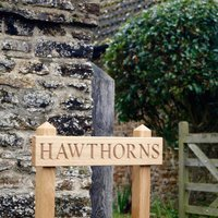 Premium Engraved Oak Free Standing House Sign