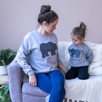 Personalised Mummy And Baby Bear Sweatshirt Set, Grey/White